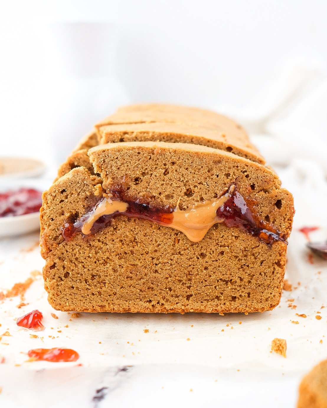 Double Peanut Butter & Jelly Bread (paleo & easily nut free)