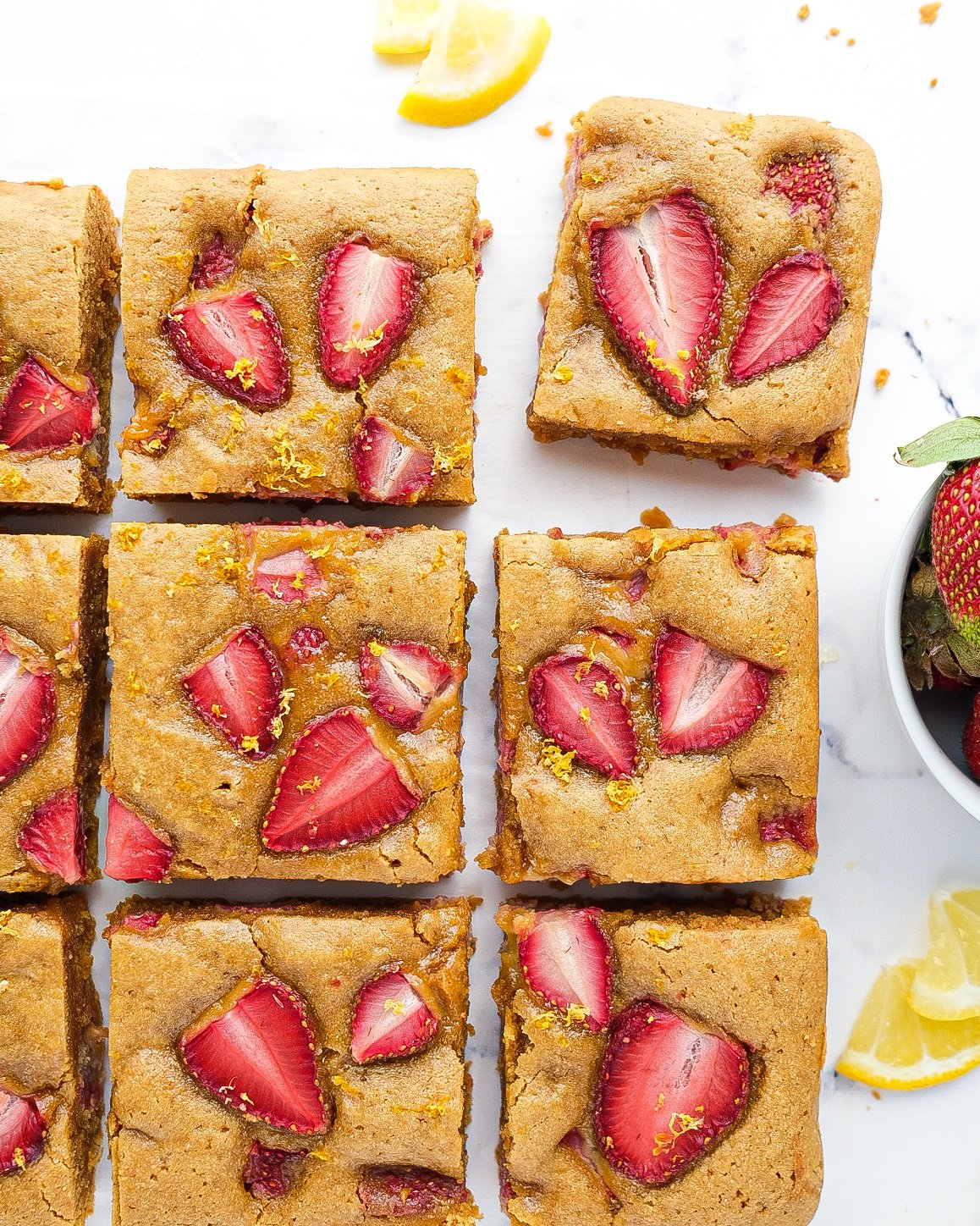 Strawberry Lemon Cookie Bars (paleo & nut free option)