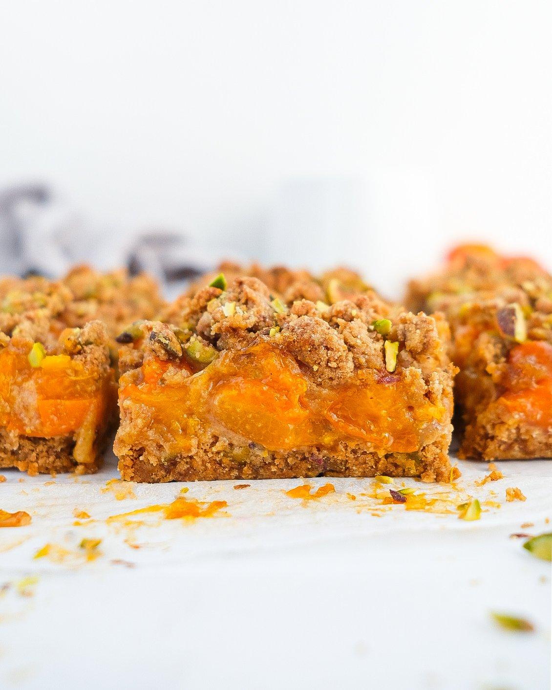 Apricot Pistachio Crumble Bars (paleo)